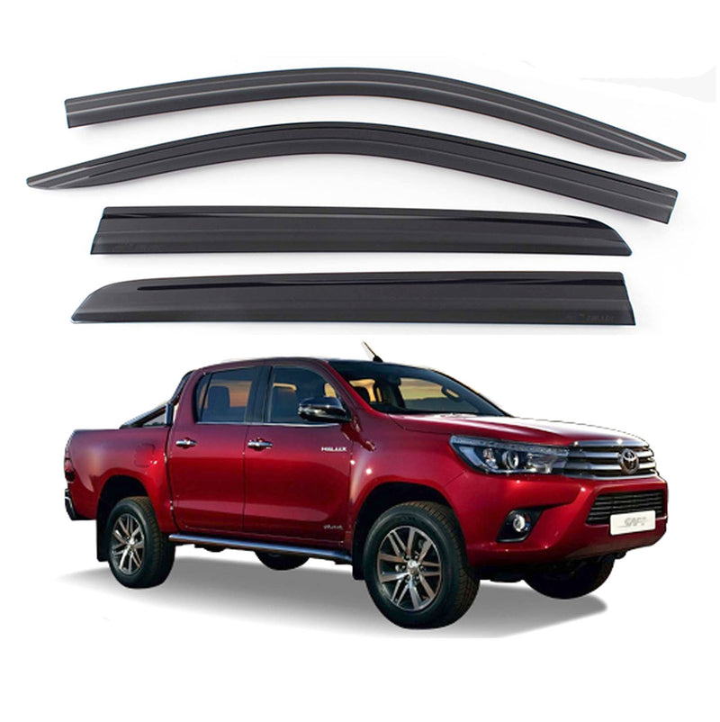 4-Piece Smoke (Black) Window Vent Visors Rain Guards for Toyota Hilux 2016 - 2020+