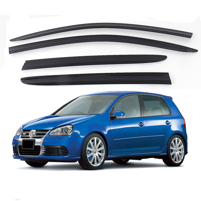 4-Piece Smoke (Black) Window Vent Visors Rain Guards for Volkswagen Golf MK5 / MK6 2003 - 2012 Free Shipping - Motor City Auto