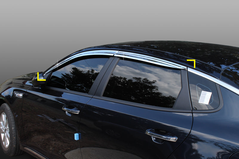 4-Piece Chrome Window Vent Visors Rain Guards for Kia Optima (K5) 2016 - 2020+