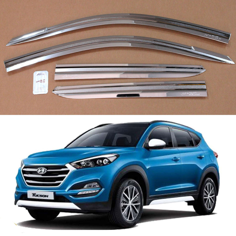 4-Piece Chrome Window Vent Visors Rain Guards for Hyundai Tucson 2016 - 2020 Free Shipping - Motor City Auto