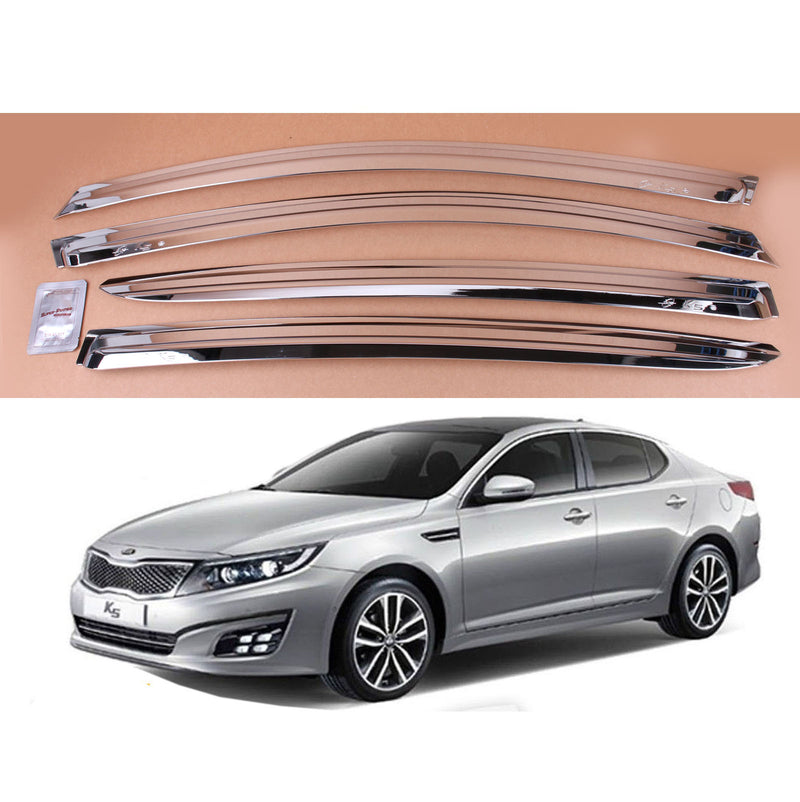4-Piece Chrome Window Vent Visors Rain Guards for Kia Optima (K5) 2011 - 2015