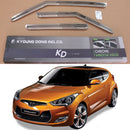 3-Piece Chrome Window Vent Visors Rain Guards for Hyundai Veloster 2011 - 2018
