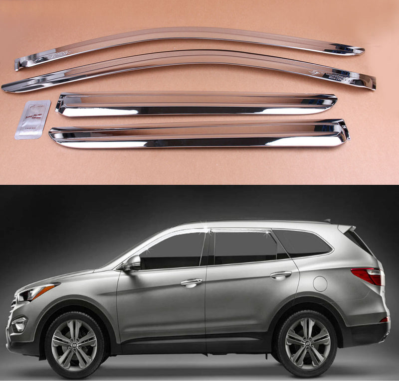 4-Piece Chrome Window Vent Visors Rain Guards for Hyundai Santa Fe 2012 - 2018 Free Shipping - Motor City Auto