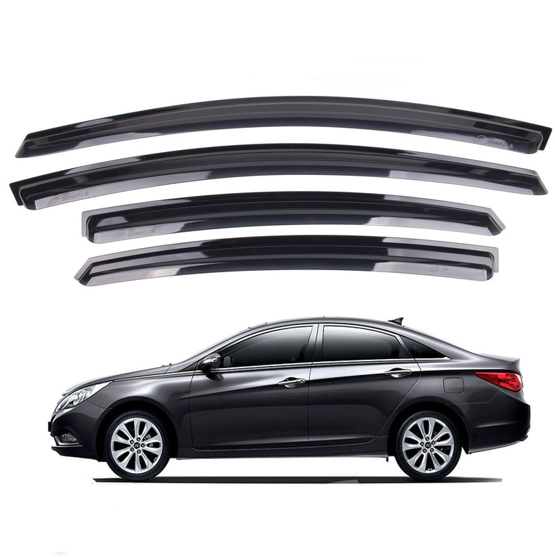 4-Piece Smoke (Black) Window Vent Visors Rain Guards for Hyundai Sonata 2011 - 2014