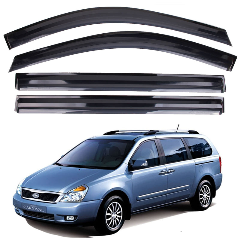 4-Piece Smoke (Black) Window Vent Visors Rain Guards for Kia Grand Sedona (Carnival) 2006 - 2014
