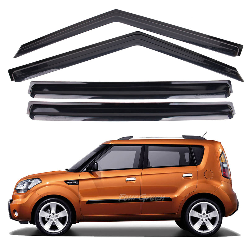 4-Piece Smoke (Black) Window Vent Visors Rain Guards for Kia Soul 2008 - 2013 Free Shipping - Motor City Auto