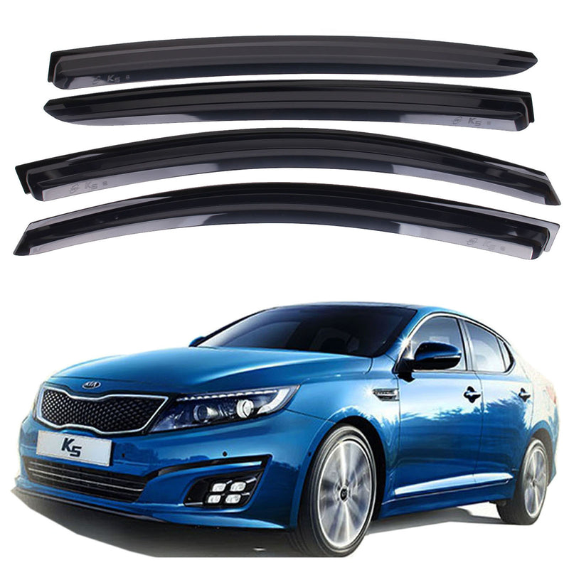4-Piece Smoke (Black) Window Vent Visors Rain Guards for Kia Optima (K5) 2011 - 2015 Free Shipping - Motor City Auto