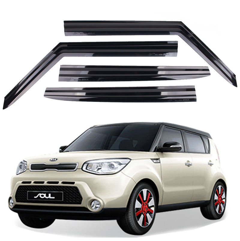4-Piece Smoke (Black) Window Vent Visors Rain Guards for Kia Soul 2014 - 2018