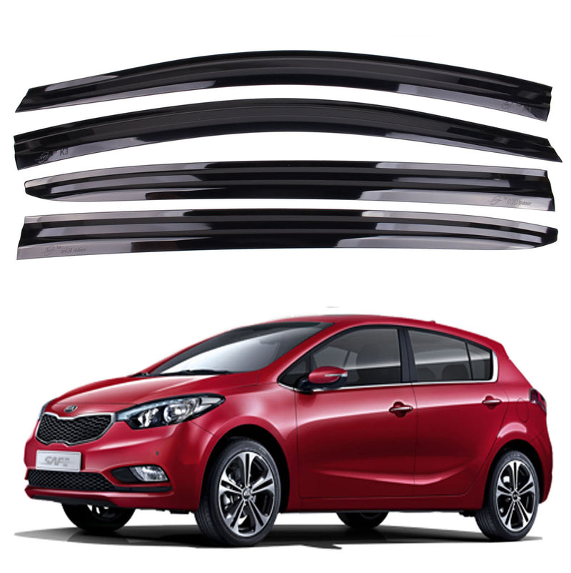 4-Piece Smoke (Black) Window Vent Visors Rain Guards for Kia Forte (K3) 5-Door 2013 - 2019+