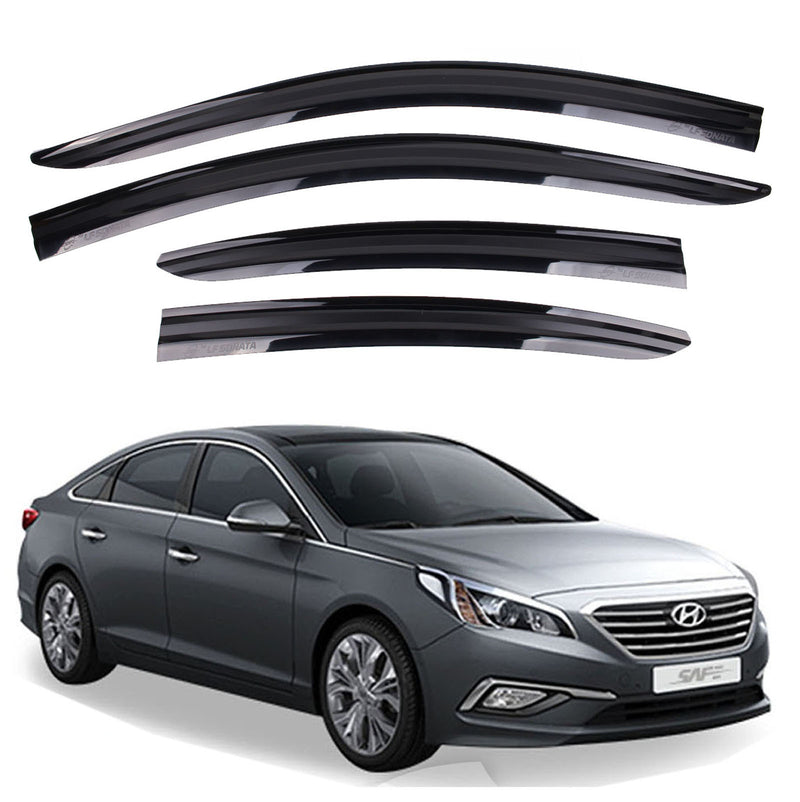 4-Piece Smoke (Black) Window Vent Visors Rain Guards for Hyundai Sonata 2015 - 2019