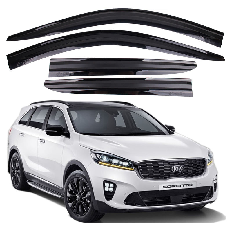 4-Piece Smoke (Black) Window Vent Visors Rain Guards for Kia Sorento 2016 - 2020+