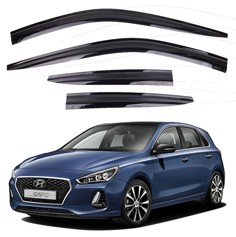 4-Piece Smoke (Black) Window Vent Visors Rain Guards for Hyundai Elantra GT (i30) 2018 - 2020+