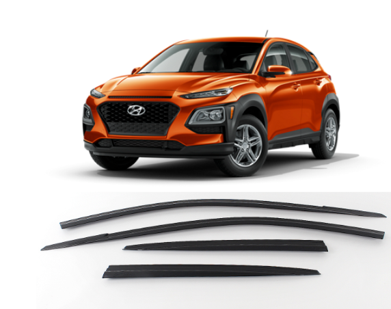 4-Piece Smoke (Black) Window Vent Visors Rain Guards for Hyundai Kona 2018 - 2021+ Free Shipping - Motor City Auto