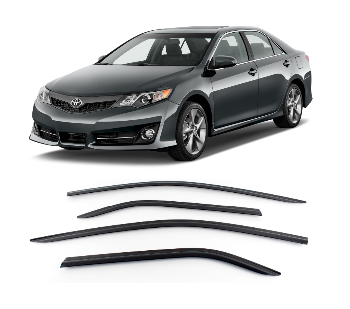 4-Piece Smoke (Black) Window Vent Visors Rain Guards for Toyota Camry 2012 - 2014