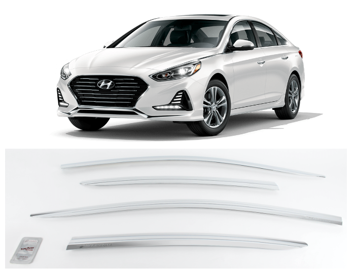 4-Piece Chrome Vent Visors Rain Guards for Hyundai Sonata 2015 - 2019