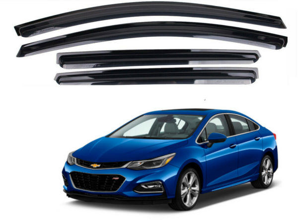 4-Piece Smoke (Black) Window Vent Visors Rain Guards for Chevy Cruze 2017 - 2020+