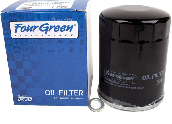 1-Piece Fourgreen Oil Filter and Washer for Toyota (90915YZZD3 and more)