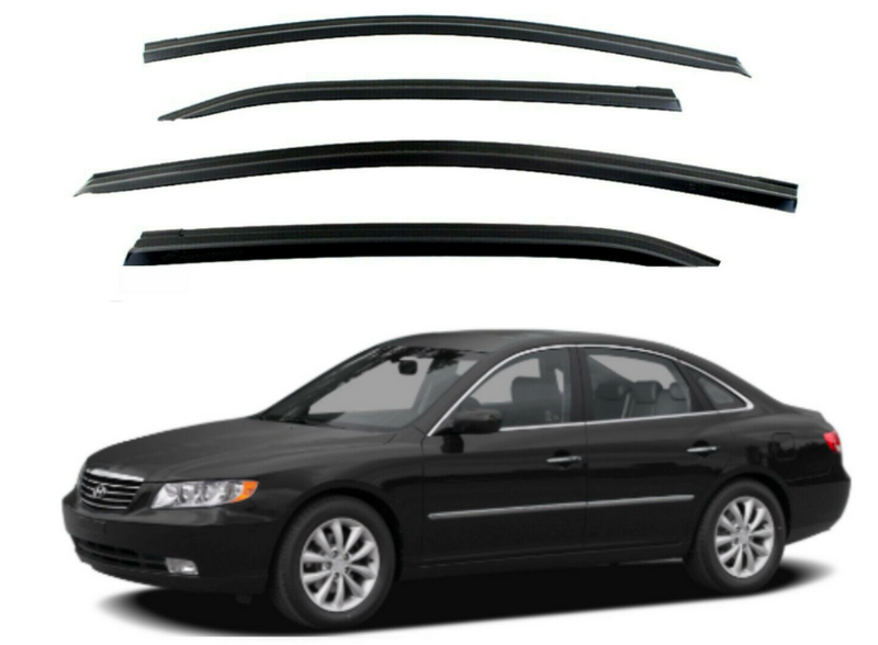 4-Piece Smoke (Black) Window Vent Visors Rain Guards for Hyundai Azera 2006 - 2011