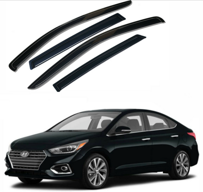 4-Piece Black Window Vent Visors Rain Guards for Hyundai Accent 2012 - 2017