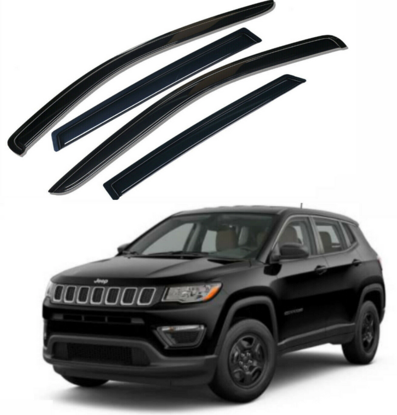 4-Piece Black Window Vent Visors Rain Guards for Jeep Compass 2017 - 2021+ Free Shipping - Motor City Auto