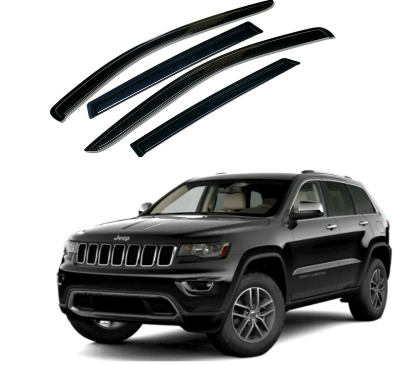 4-Piece Black Window Vent Visors Rain Guards for Jeep Grand Cherokee 2011 - 2020+