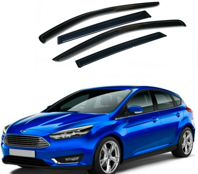 4-Piece Black Window Vent Visors Rain Guards for Ford Focus 2011 - 2018
