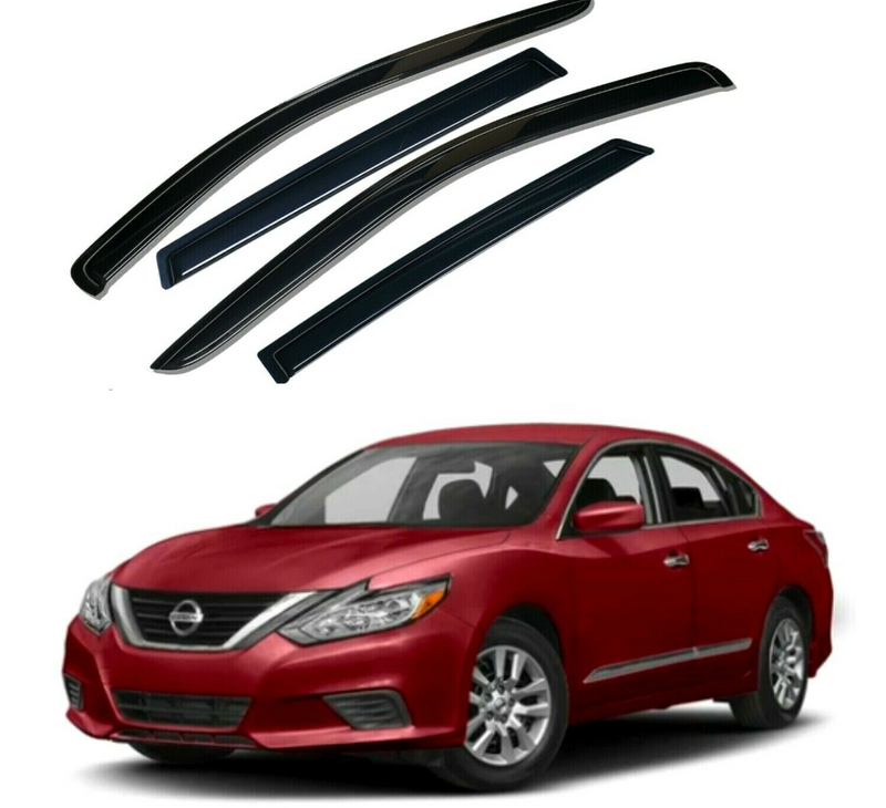 4-Piece Black Window Vent Visors Rain Guards for Nissan Altima 2013 - 2018