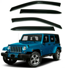 4-Piece Black Window Vent Visors Rain Guards for Jeep Wrangler 2007 -2017
