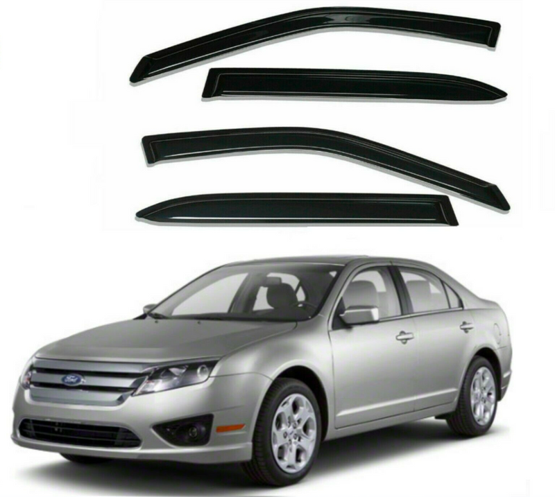 4-Piece Black Window Vent Visors Rain Guards for Ford Fusion 2006 - 2012