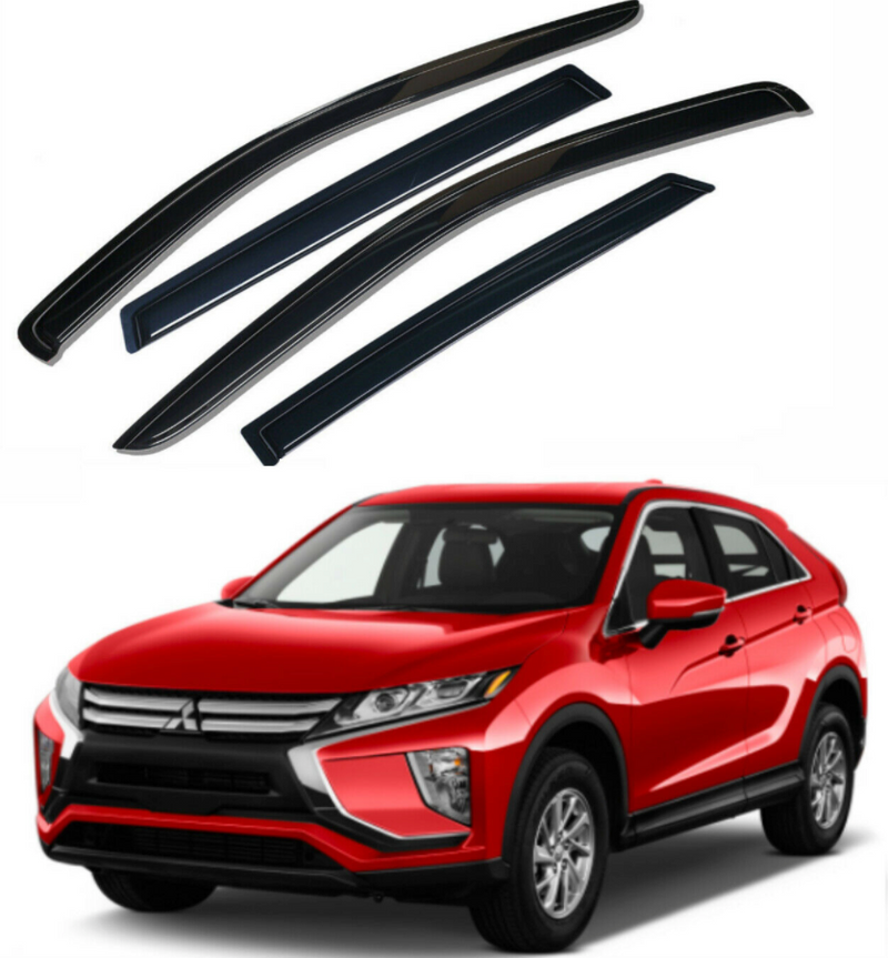 4-Piece Black Window Vent Visors Rain Guards for Mitsubishi Eclipse Cross 2018 - 2021+ Free Shipping - Motor City Auto