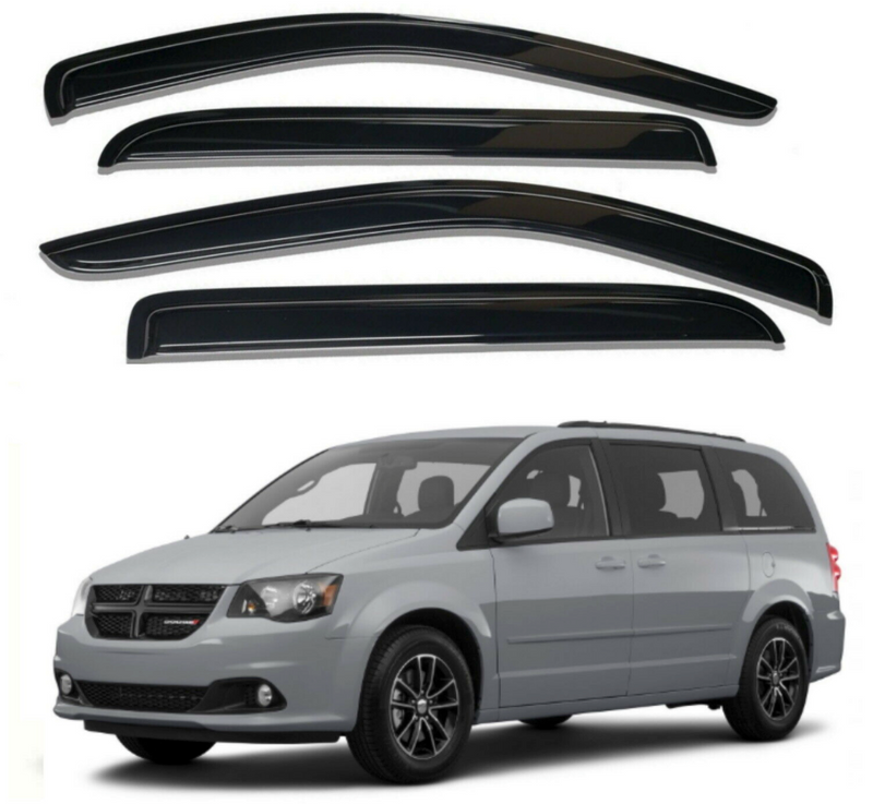 4-Piece Black Window Vent Visors Rain Guards for Dodge Grand Caravan, Chrysler Town & Country 2008 - 2016