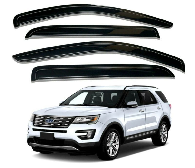 4-Piece Black Window Vent Visors Rain Guards for Ford Explorer 2011 - 2019