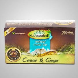 Eden Gardens Nutraceuticals Cerasse & Ginger Tea is rich in antioxidants.  Relieves headaches, indigestion, nausea and diabetes. 24 bags
