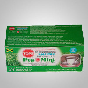 Tops Pep O Mint Tea- Jamaican peppermint leaves are grounded and blended with tea to make this unique combination.  24 bags
