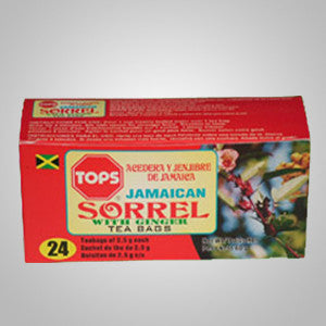 Tops Sorrel with Ginger Tea blends sorrel a Jamaican favorite with ginger to make a unique taste and flavor. Enjoy hot or cold.  24 bags