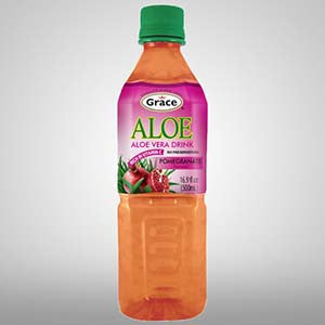 Grace Aloe Vera drink made from Aloe Vera gel and pomegranate maintains good health, energy and prevents illness. 16.9 oz.