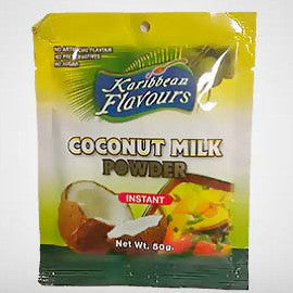 Karibbean Flavours coconut milk is powdered coconut milk. It may be used to enhance the taste of curry, soup, desserts, cakes, ice cream, cocktails and more. 50g