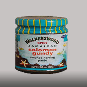 Walkerswood Spicy Solomon Gundy is a Jamaican fish paste made from a blend of smoked herring, hot peppers and seasonings. 12.5 oz