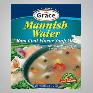 Grace Mannish Water Soup Mix (Ram Goat flavored). Ideal to add to your homemade soup & dishes. 1.2 oz.