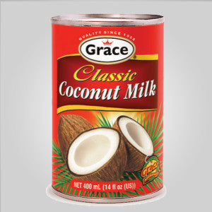 Grace Coconut Milk is used to flavor many dishes and adds a rich and delicious coconut flavor to whatever that is being prepared. 14 oz.