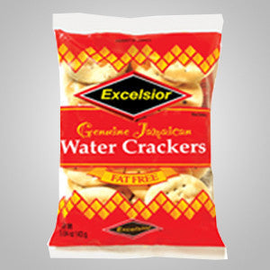 Excelsior Water Crackers are fat free and go well with all things Jamaican. Enjoy with cheese, Solomon Gundy (smoked herring) or steamed fish.