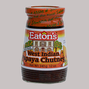 Eaton's papaya chutney is an all-natural condiment made from Jamaican papayas, Jamaican ginger, onions, hot peppers, garlic and spices.