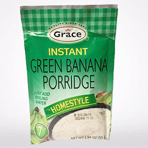 Instant Jamaican Green Banana Porridge in a convenient sachet pouch! Just add boiling water.