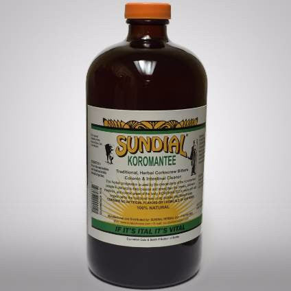SUNDIAL Koromantee Corkscrew Bitters, Colonic, and intestinal Cleanser. Used to clean out the stomach, intestines and colonic area of waste matter and help relieve constipation.