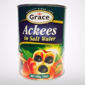 Grace Ackees in Salt Water is cooked with Salt Fish and is Jamaica's National Dish. 19oz or 540ml