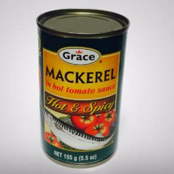 Grace Hot & Spicy Mackerel in hot tomato sauce may be served as a snack or with rice as a main course.