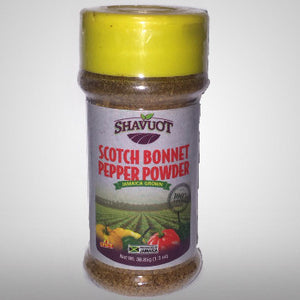 "Shavuot Scotch Bonnet Pepper Powder will not only add ""heat"" to your food but bring out the taste of scotch bonnet pepper that is used in many dishes. 1.3 oz"