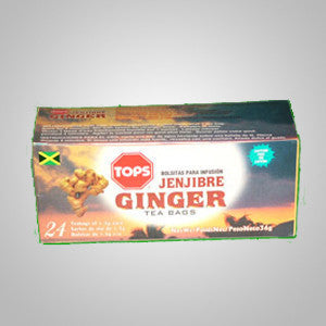 Tops Ginger Tea will improve circulation and stomach aches.  Ginger plays an important role in overall well being.  Its unique flavor makes the perfect tea.  24 bags
