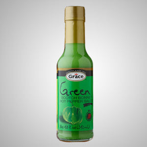 Grace Green Scotch Bonnet Hot Pepper Sauce is a homemade recipe of selected green scotch bonnet peppers. 4.8 oz