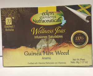 Eden Gardens Jamaica Guinea Hen Weed Tea is rich in anti-oxidants with anti-inflammatory properties known to improve overall immune function.  20 bags